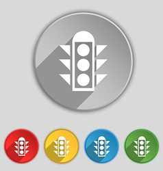 Traffic light signal icon sign Symbol on five flat vector