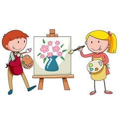 Two artists painting on canvas vector image vector image