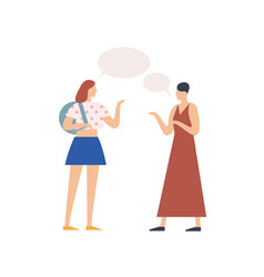 Two young girl gossiping with speech bubble vector