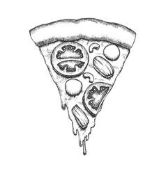 Vegetable italian slice piece pizza vintage vector
