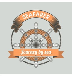 Vintage nautical emblem vector image