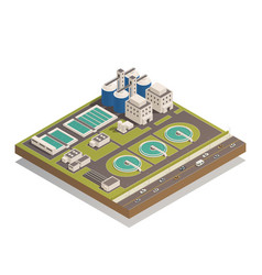 Waste water cleaning isometric composition vector