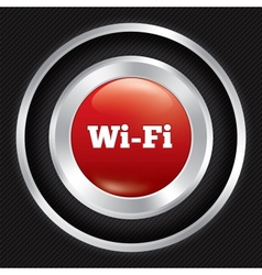 Wi-fi button Metallic wifi icon on Carbon fiber vector image