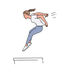 Woman doing parkour - flat drawing young girl vector