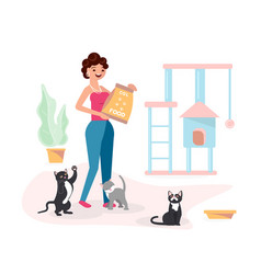 young woman feeds her cats vector image