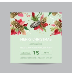 Christmas Invitation Pine and Poinsettia Card vector image vector image