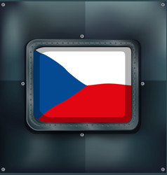 czech republic flag on square frame vector image vector image
