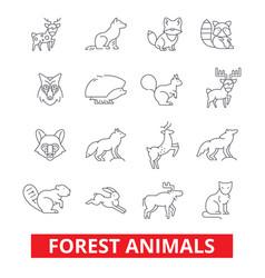 Forest animals elk wolf fox rabbit squirrel vector