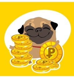 Rich dog pug with gold coins vector image vector image