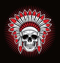 skull of indian native american warrior mascot vector image