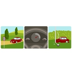 Car speeding and accident vector