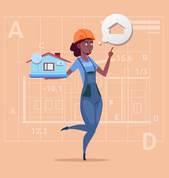 cartoon female builder holding small house ready vector image
