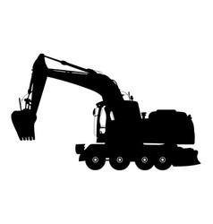 Detailed silhouette of excavator isolated on vector