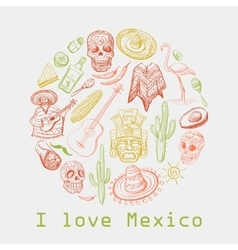 Mexican culture symbols vector
