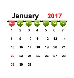 Simple calendar 2017 year january month vector