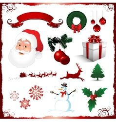 christmas elements isolated on white vector image