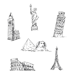 Doodle Travel set World famous landmarks vector image