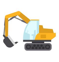 excavator icon flat style vector image