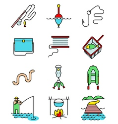 Fishing hobby line art thin and simply icons set vector