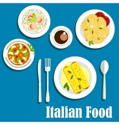 Italian cuisine with pasta and risotto vector image