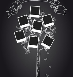 Vintage instant photo tree vector image