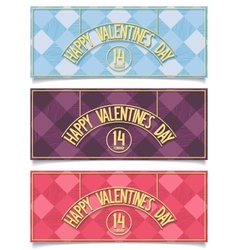 Beautiful happy valentines day banners vector