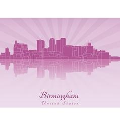 Birmingham AL skyline in purple radiant orchid vector image vector image