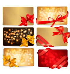 gift cards with red gift bows vector image
