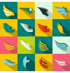 Wings icons set flat style vector image
