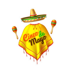 3d cinco de mayo party poster banner vector image
