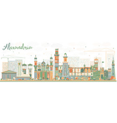 Abstract alexandria skyline with color buildings vector