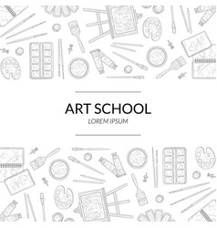 art school banner template with place for text and vector image