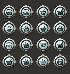 basket icons set vector image