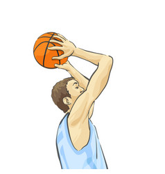 Basketball player throws the ball into the basket vector