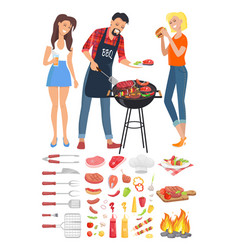 Bbq barbecue party people icon vector