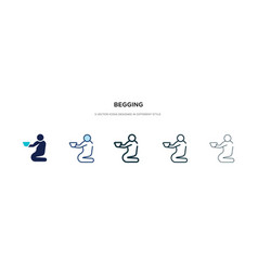 begging icon in different style two colored vector image