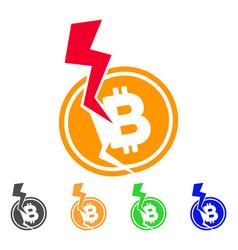 Bitcoin crash lightning icon vector