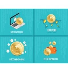 bitcoin set - coins wallet secure vector image