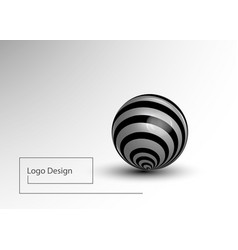 black and white striped 3d sphere realistic light vector image