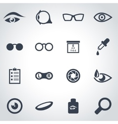 Black optometry icon set vector