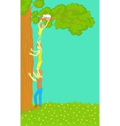 Boys get a cat out of tree vector