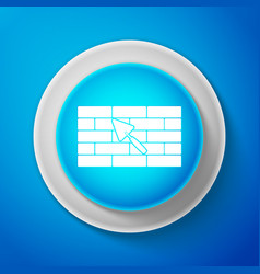 brick wall with trowel icon on blue background vector image