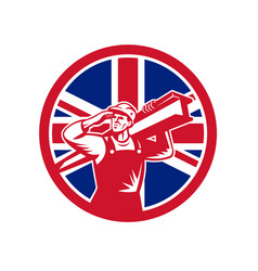 British construction worker union jack flag icon vector