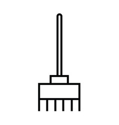 broom stand cleaning icon with outline and line vector image