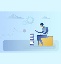 Business man sitting at books stack reading vector