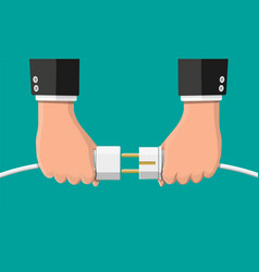 businessmen hold plug and outlet in hand vector image