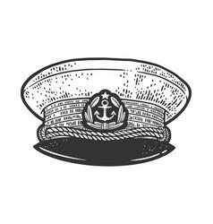 captain cap uniform sketch vector image