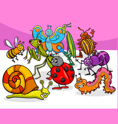 Cartoon insects and bugs characters group vector