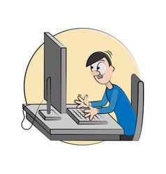 cartoon man happy with computer vector image