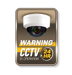 Cctv in operation warning nameplate banner vector